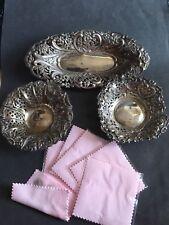 Job Lot Vintage Victorian Hallmarked Solid Silver Dish Plates  Free Polish Cloth