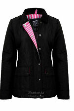 New Ladies Quilted Padded Button Zip Jacket Casual Women's Coat Plus Size 8-26