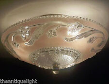 468z Vintage 40's 50's Ceiling Glass Light Fixture Chandelier pink  Flush Mount