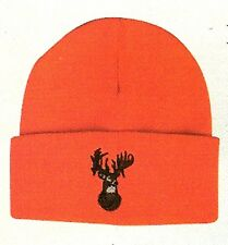 Orange Watch Cap Knit  Beanie w/ Deerhead Hunting Hat