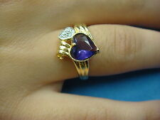 14K GOLD, HEART SHAPED AMETHYST & DIAMONDS LADIES RING 3.1 GRAMS SIZE 6.5