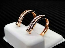 14K Rose/Pink Gold Womens Lady Diamond Hoop Earring 0.41Cts Round Brilliant Cut