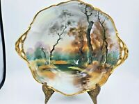 Vintage Hand Painted Bowl with Handles Beautiful Scenery Bird Goose in Flight