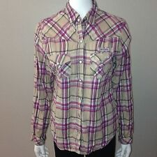Columbia Flannel Shirt Size M Medium Womens Button Down Top Plaid Long Sleeve