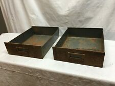 Industrial Salvage 2 Metal Tray Drawer Parts Bin / In Out Letter Box , Organizer