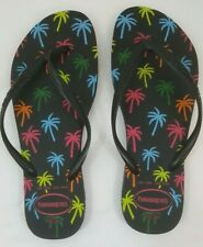 Havaianas Flip Flops Sandals - Black with Palm Tree Print Size 7/8 - NWOT
