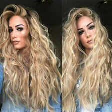 Lace Front Wig Synthetic Sexy Long Wavy Hair Ash Blonde Heat Resistant Hair