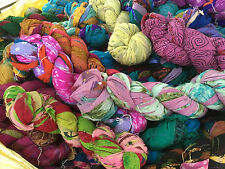 Recycled Silk Chiffon Yarn 100% Silk Multicolor/Printed 3 Hank 300 Grms FREESHIP