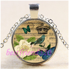 crown bird Music Notes Cabochon Glass Tibet Silver Chain Pendant Necklace#CD90