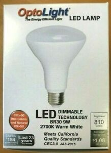 BR30 LED Dimmable Flood Light Bulb 9W = 65W, Warm White OptoLight, Warm White