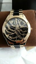 BRAND NEW MICHAEL KORS MK3315 SLIM RUNWAY ZEBRA CRYSTAL PAVE GOLD WOMENS