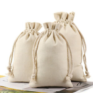 10 x Burlap Plain Drawstring Bags - Small Snack Candy Cosmetic Storage Spice Bag