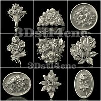 9 3D Model STL CNC Router Artcam Aspire Rose Flowered Cut3D Vcarve