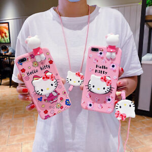 Cartoon Floral Kitty Strap Holder Case cover For iPhone 12 11 Pro XS Max XR 7 8+
