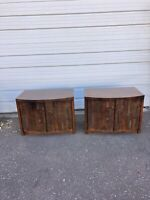 Pair Of Vintage Mid Century Modern Lane Brutalist Nightstand End Table Cabinets