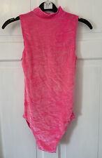 Bright Pink Velour Look Sleeveless Leotard Elite Dancewear - Size 4 Small Adult