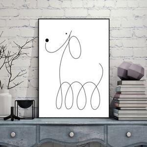 Cartoon Dog Canvas Poster Print Nordic Minimalist Art Home Wall Decor for Kids