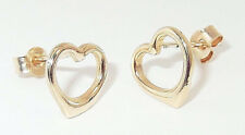 9CT HALLMARKED YELLOW GOLD 8MM HEART STUD EARRINGS - IDEAL GIFT FOR A YOUNG LADY