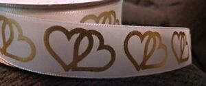 White Satin Gold Heart Ribbon - 3 Yards 7/8 inches Wide
