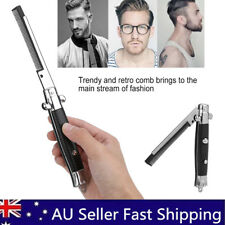 Metal Switchblade Fold Spring Pocket Hair Comb Foldable Hairstyling Brush AU
