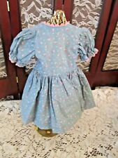 """Homemade Doll Dress, 10"""" Long, Long sleeves, Blue print with pink trim"""