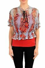 Just Cavalli Women's 100% Silk Patterned Cropped Blouse Top US S IT 40