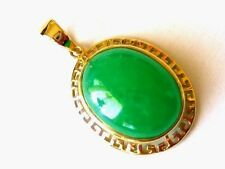 New Unique 14k Solid Yellow Gold Y/G Green Jade Pendant, Oval Shape, 16*20mm
