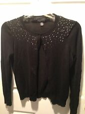 Central Park West New York Women's Sequin/Beaded Cardigan/Sweater~~Black
