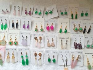 Joblot of 32 Pairs real jade dangly Earrings mixed sizes  - NEW wholesale