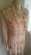 Vtg 1920,s style Downton peaky pink sequin beaded wedding dress size 8 uk