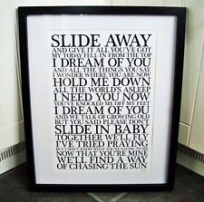 More details for oasis /  slide away a3 size typography lyric art print/poster