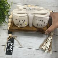 "New RAE DUNN ""JAM & JELLY"" Jars W/Spoons By Magenta DARK Stained Wood Tray"