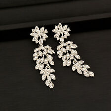 3 Color Vintage Sparkling Crystal Long Hollow Leaf Earrings For Women Party Ball