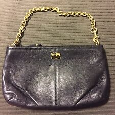 COACH BLACK MADISON PLEATED FULL SIZE WRISTLET WALLET CLUTCH CHAIN LINK LEATHER