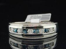 Mens 10K White Gold Round Cut Blue Diamond Ring Engagement Wedding Band .53 Ct.