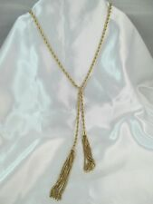 NWT MONET GOLD ROPE CHAIN LONG STATEMENT NECKLACE with DOUBLE TASSEL, Lovely