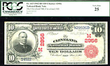 1902, $10#Fr 613-3rd Charter#1633, Ohio National Bank of Cleveland-Rs-Pcgs 25