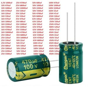 6.3V -450V High Frequency LOW ESR Radial Electrolytic Capacitors 4.7uF - 10000uF