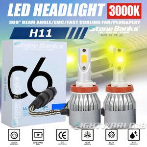 H11 LED Headlight Bulb Hi Low Beam Foglight 3000K Golden Yellow 100W 20000LM DRL