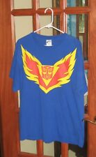 Vintage Tracks Transformers Gen One L Mens T Shirt Blue Cotton Excellent USA