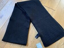 RALPH LAUREN BLACK LABEL LUXURY WEEKEND 100% CASHMERE KNITTED SCARF IN BLACK