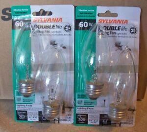 60W Clear Ceiling Fan B13 525 Lumen Medium Base Double Life 4 or 12 light bulbs