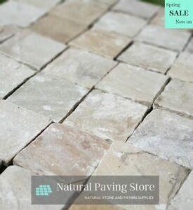 Fossil Mint Sandstone paving patio cobble setts 40/60 mm