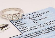 0.88 Platinum Three-Stone Round Brilliant Cut Diamond Ring EGL-USA Rtl $4,665