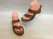 Ariat Women's Brown Leather Wedge Slip On Slide Sandals Toe Strap Size 8.5 B