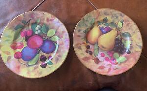 GODINGER LIMOGES STILL LIFE FRUIT DESIGN PEAR APPLE 2 DINNER PLATES GOLD RIM NEW