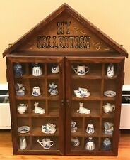 "Vintage Wood Miniature Display Case ""My Collection"" Enesco With 24 Delft Figures"