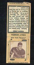 1936-39 Diamond Matchbook Hockey Type 2  Vernon Ayres   NY Rangers   LOOK !!