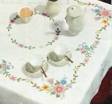 Vintage iron on embroidery transfer rose flowers tablecloth Anchor 527