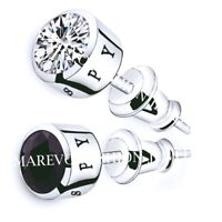 CZ Stud Men Stud Earrings Blue Black White Crystal Spy Silver Plated Earrings